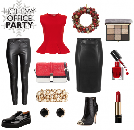 #christmasparty #office #christmaspartyoutfit #dresscode #red #black  #leather